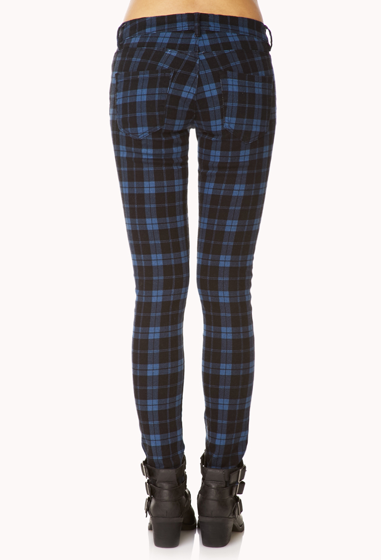 Forever 21 Plaid Skinny Jeans in Blue | Lyst