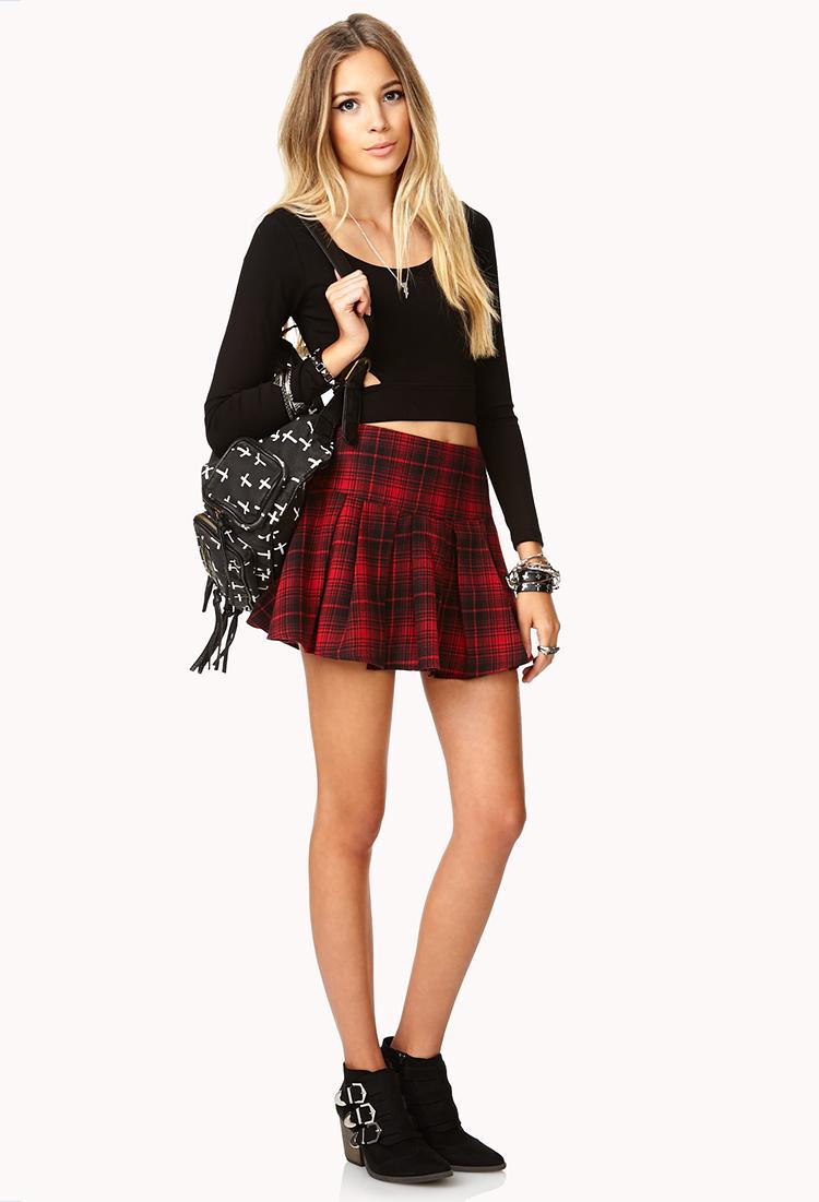 Forever 21 Edgy Plaid Skirt in Black   Lyst