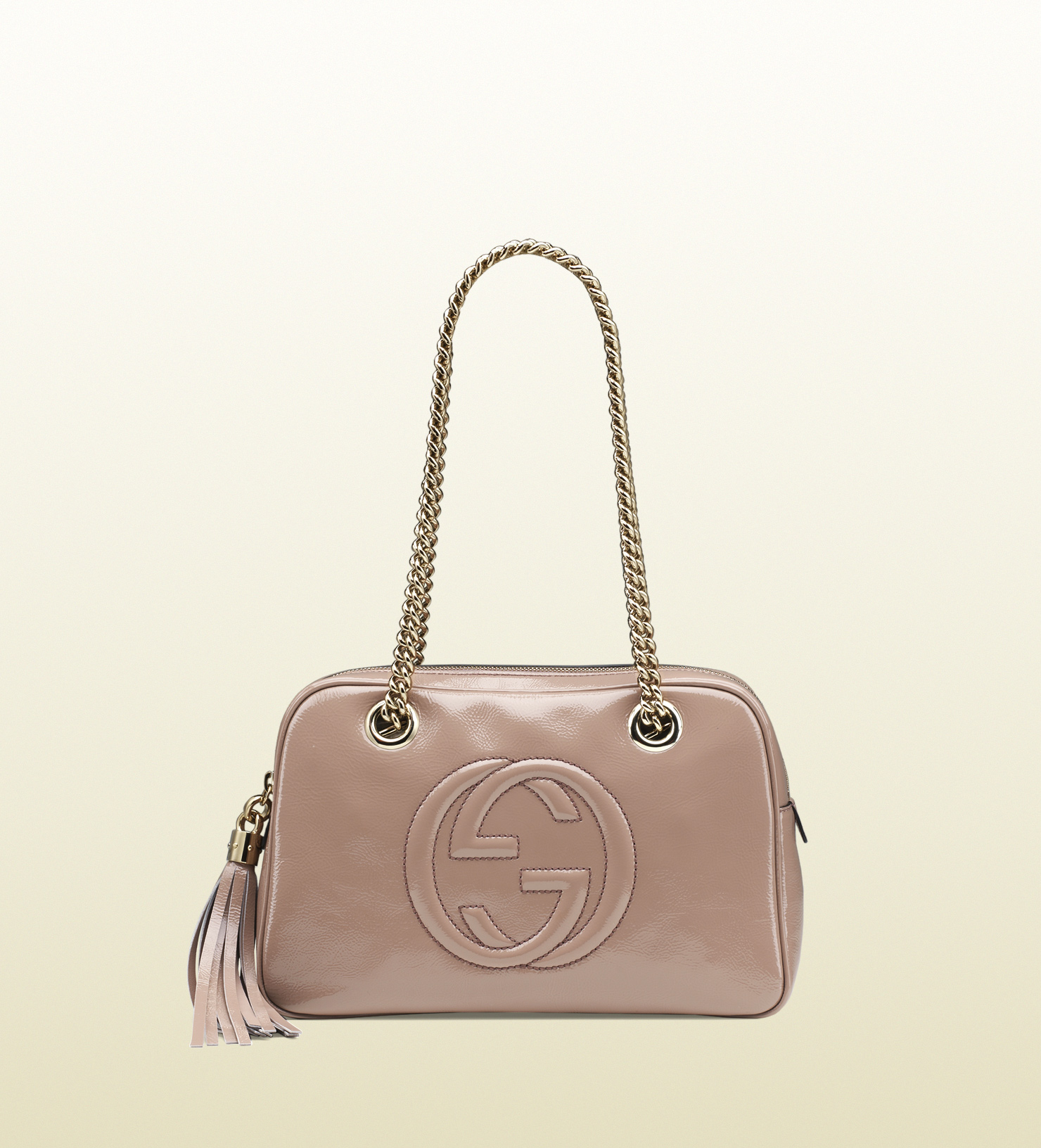 a00b8d7edb8d8 Lyst - Gucci Soho Patent Leather Shoulder Bag in Pink