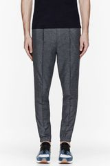 Kris Van Assche Grey Slub Pleated Trousers - Lyst