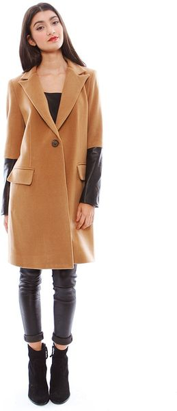 Mason By Michelle Mason Coat With Leather Sleeves In Brown