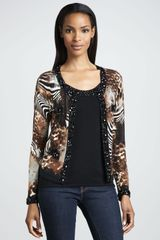 Michael Simon Animalprint Beaded Cardigan Petite - Lyst