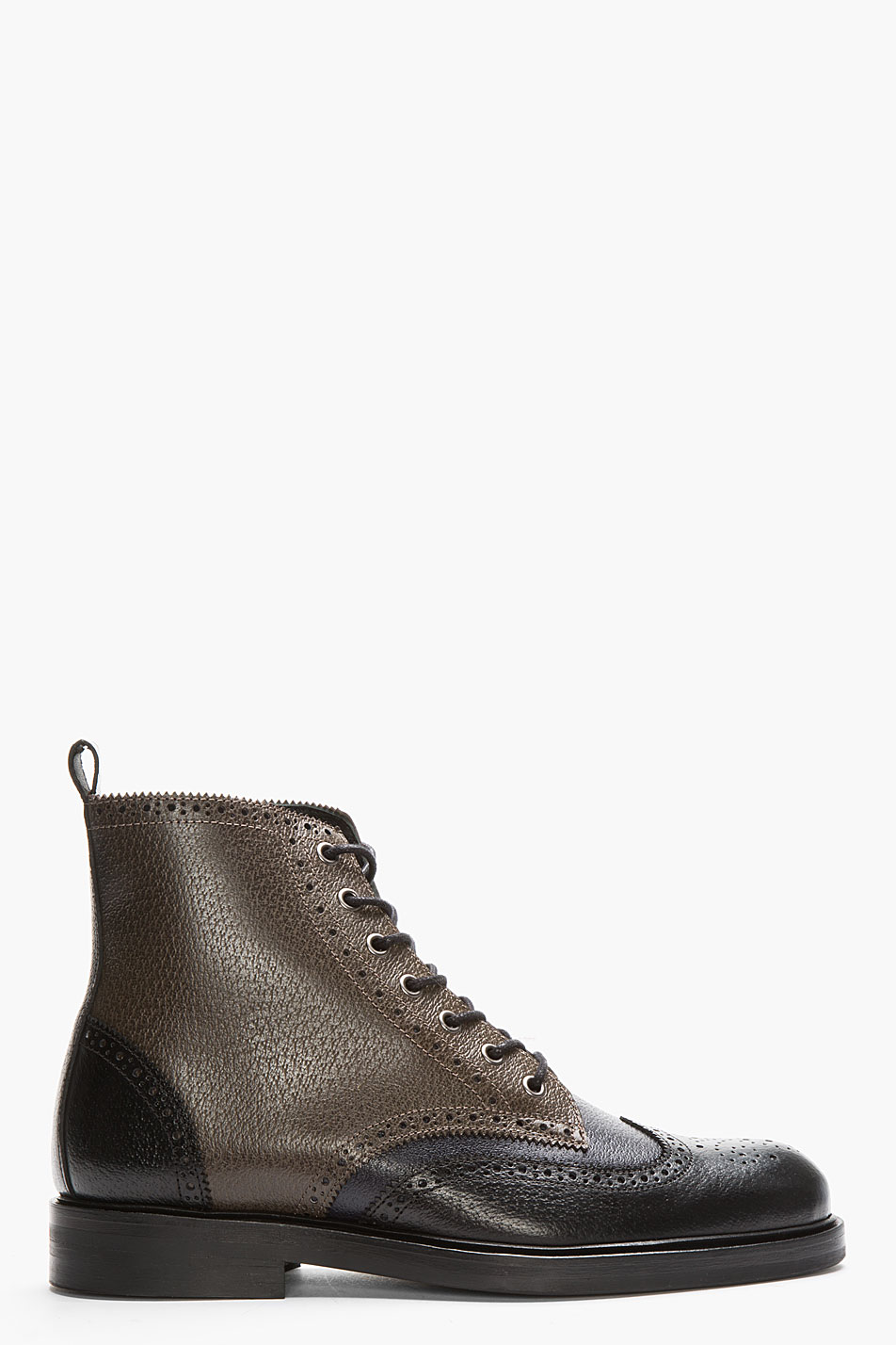 hardy black tricolor leather wingtip brogue boots