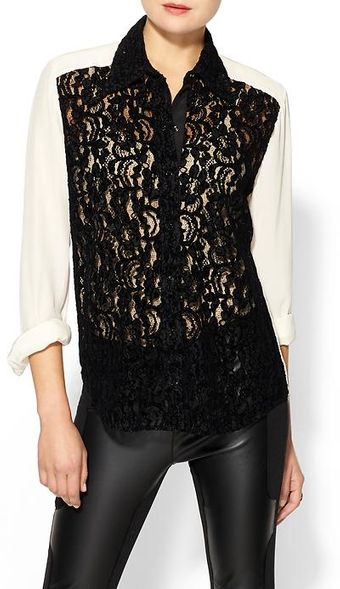 Tracy Reese Lace Front Silk Shirt - Lyst