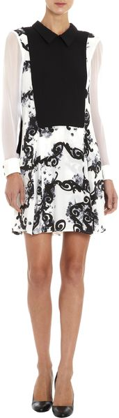 Timo Weiland Solid Front Panel Floral Print Dress - Lyst