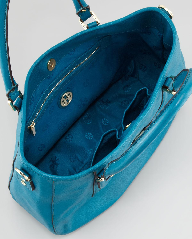 4f906bc0731b Lyst - Tory Burch Amanda Doublehandle Hobo Bag Electric Eel in Blue