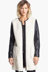 Vince Camuto Faux Shearling Faux Leather Coat - Lyst
