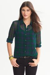 Banana Republic Sheer Plaid Blouse Black