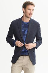 Banana Republic Tailoredfit Textured Navy Cotton Blazer - Lyst