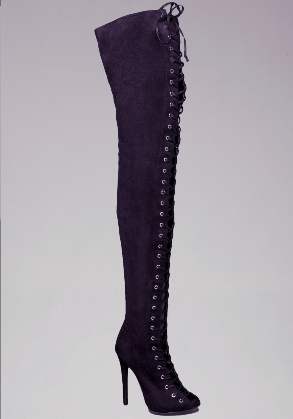 dcebbeb249c Lyst - Bebe Taryn Lace Up Over Knee Boots in Black