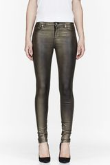 Blk Dnm Bronze Metallic Coated Stretch Jeans - Lyst
