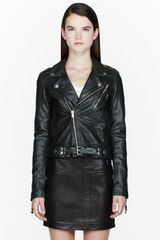 Blk Dnm Deep Green Buffed Leather Beaded Biker Jacket - Lyst