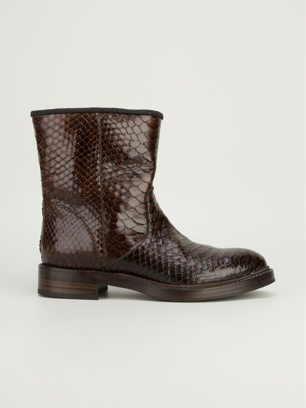 Lyst Brunello Cucinelli Snake Skin Boot In Brown