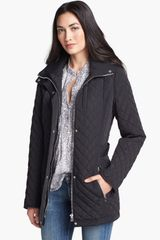 Calvin Klein Knit Collar Quilted Jacket - Lyst