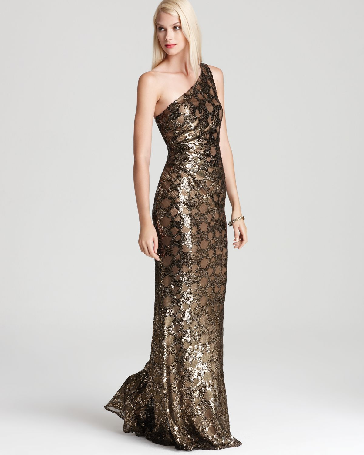 Lyst - David Meister One Shoulder Gown Sequin in Brown