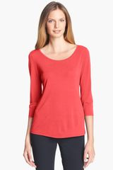 Eileen Fisher Scoop Neck Silk Top - Lyst