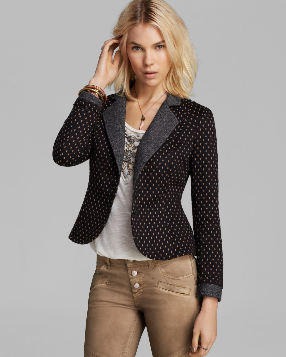 Free People Blazer Diamond Textured Knit Polka Dot In