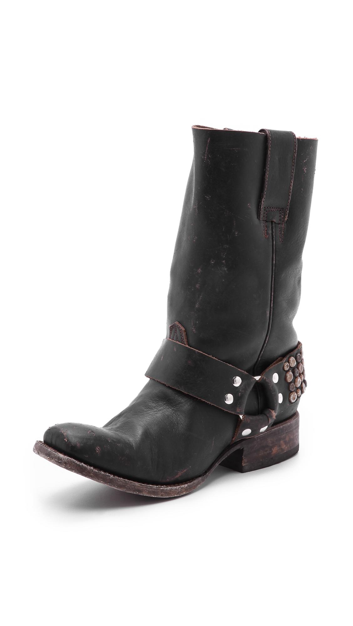 Freebird By Steven Thompson Studded Moto Boots In Black Lyst