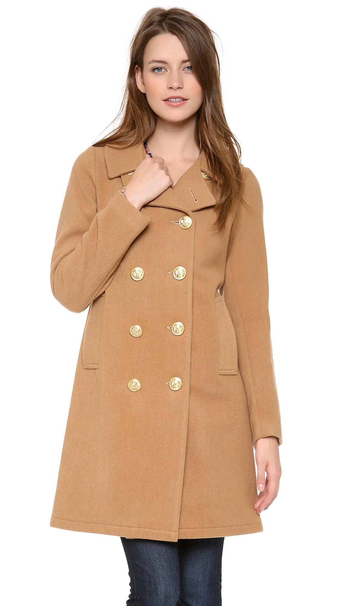 Womens brown wool pea coat