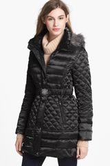 Guess Faux Fur Trim Down Feather Coat - Lyst