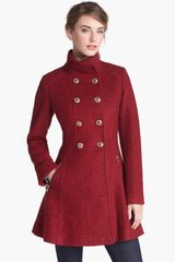 Guess Fit Flare Bouclé Military Coat - Lyst