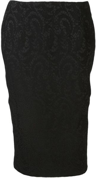 Helene Berman Stretch Lace Pencil Skirt - Lyst