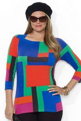 Lauren by Ralph Lauren Plus Three Quarter Sleeved Boatneck Tunic - Lyst