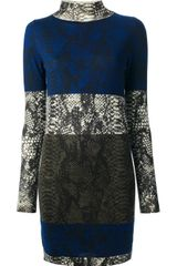 Markus Lupfer Snake Colour Block Turtleneck Dress - Lyst