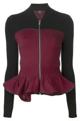 McQ by Alexander McQueen Zip Up Peplum Cardigan - Lyst