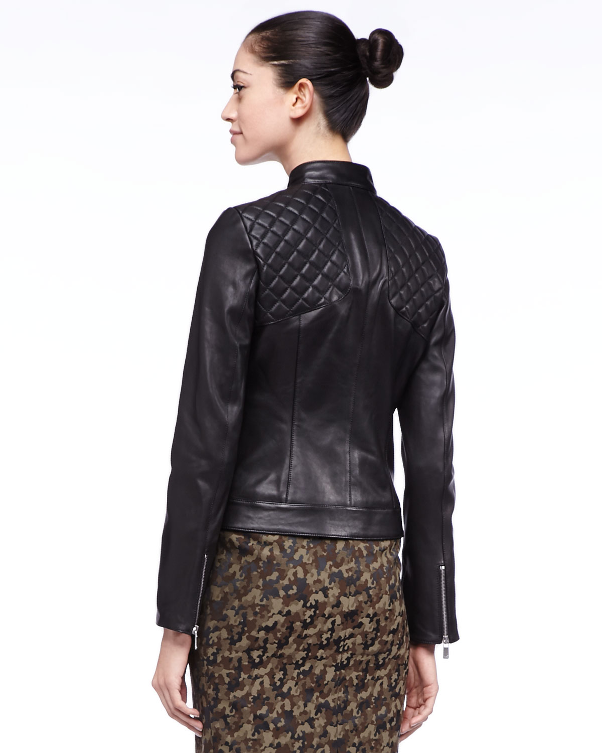 Michael kors Quilted Leather Jacket in Black | Lyst
