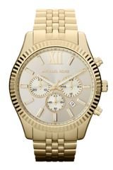 Michael Kors Oversize Golden Stainless Steel Lexington Chronograph Watch - Lyst