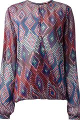 MSGM Patterned Blouse - Lyst