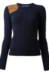 Ralph Lauren Blue Label Cable Knit Sweater - Lyst