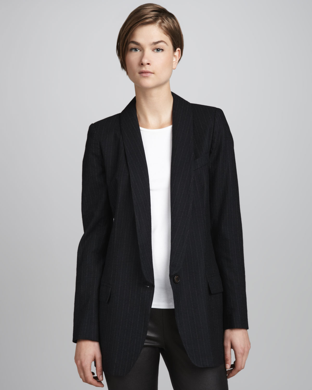 Smythe long pinstripe blazer in black lyst for Smythe inc
