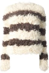 Thakoon Brown Striped Fur Sweater - Lyst