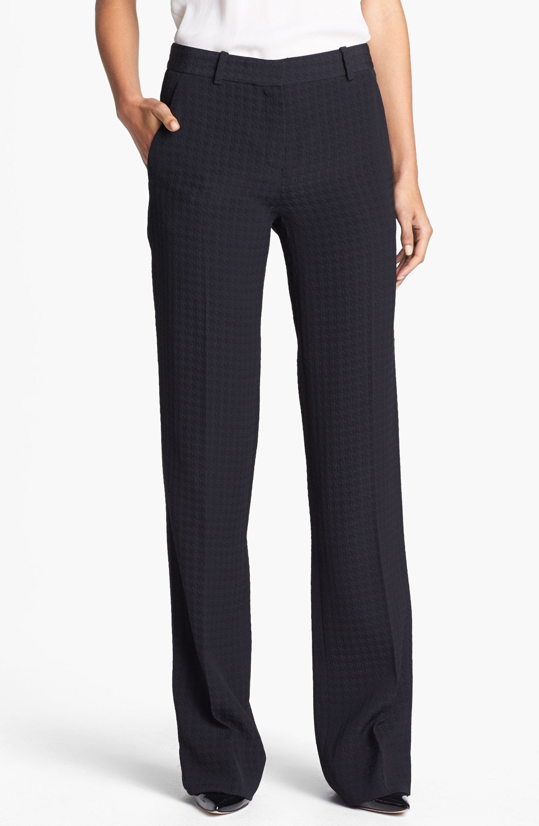 Theory Emery Wide Leg Pants In Black Lyst