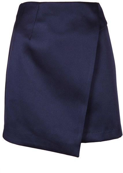 topshop navy satin wrap skirt in blue navy blue lyst