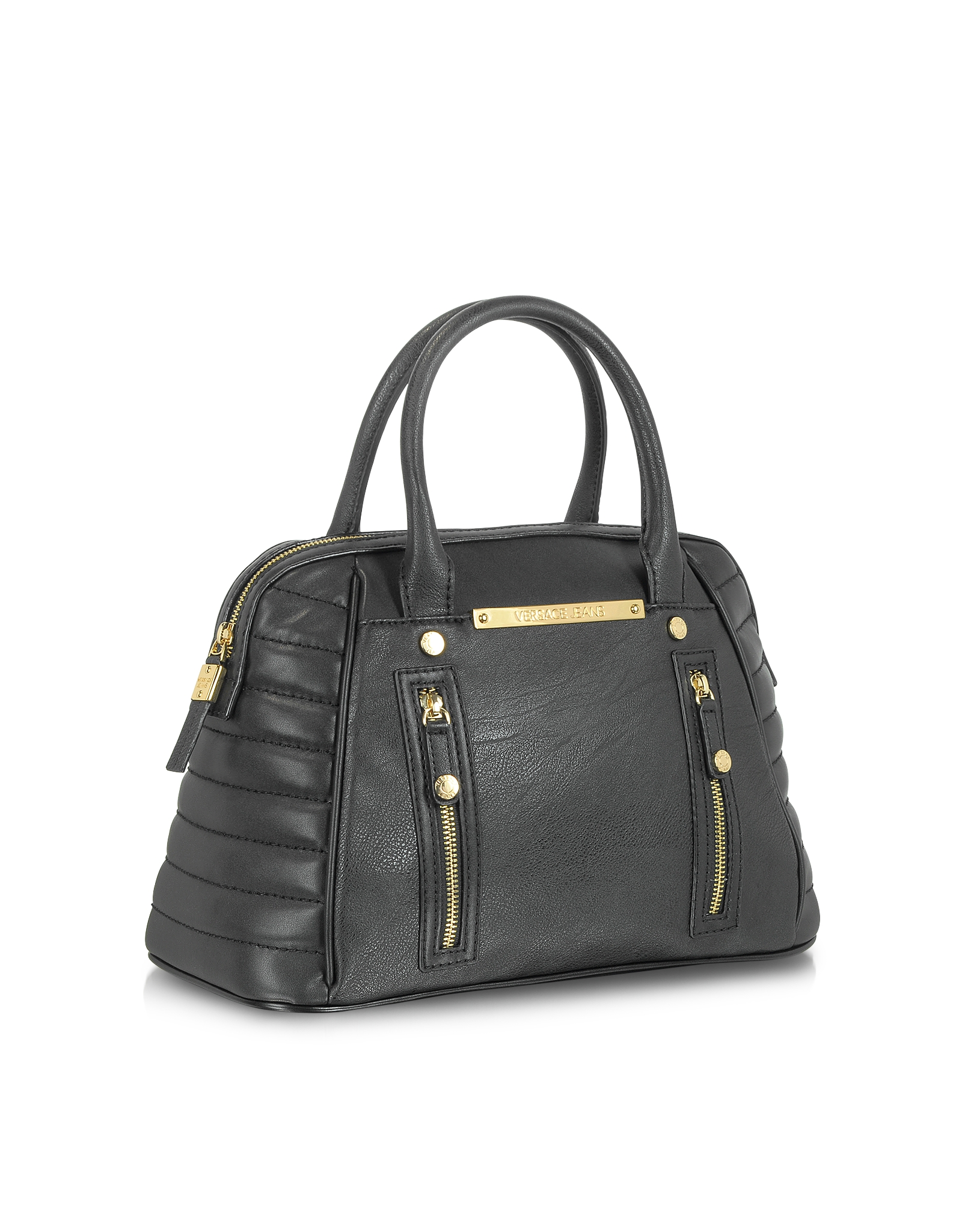 Lyst - Versace Jeans Black Eco Leather Bowler Bag in Black 1d30b38763