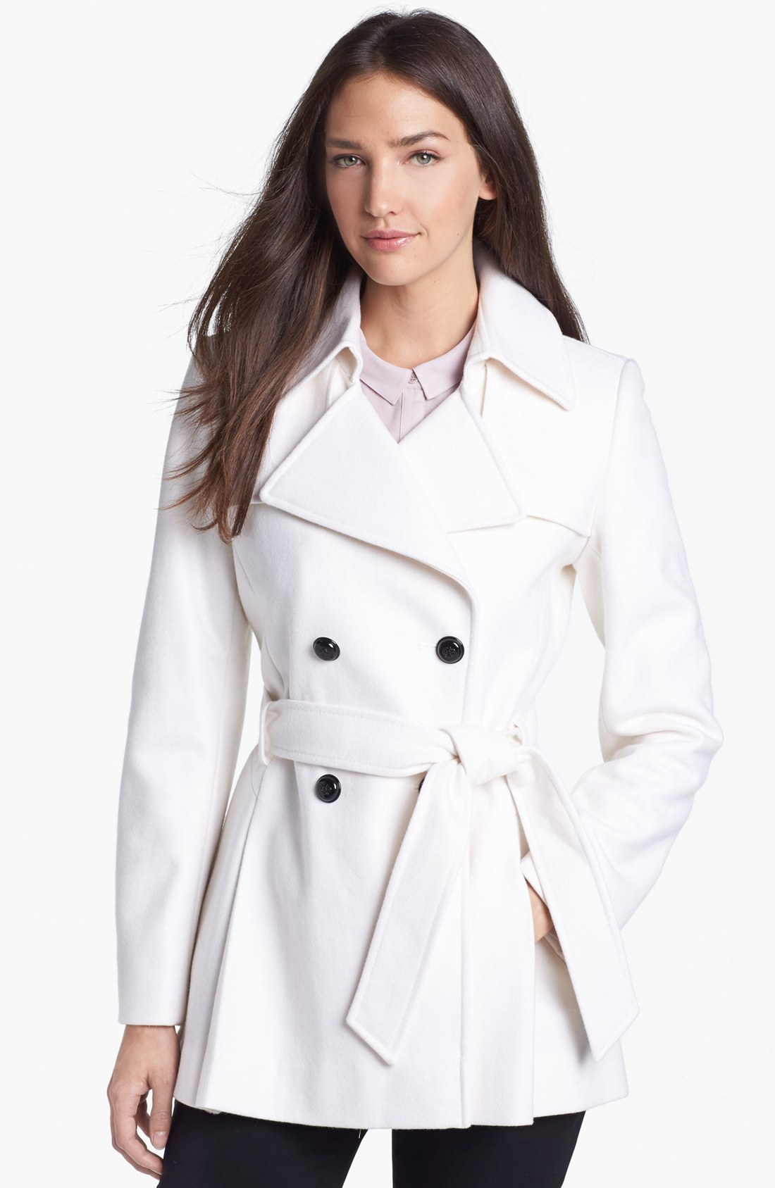 Via spiga Short Wool Blend Trench Coat in White | Lyst