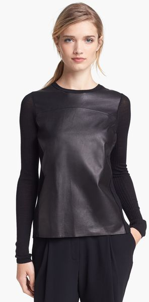 Vince Luxe Crewneck Merino Wool Leather Sweater - Lyst