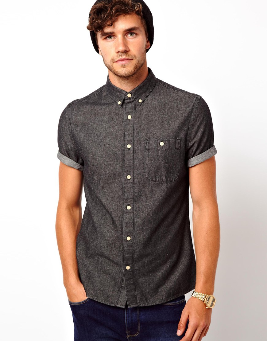 a3c390fe0e7 Lyst - G-Star RAW Asos Black Denim Shirt in Short Sleeve in Gray for Men