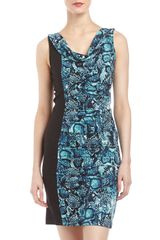 BCBGMAXAZRIA Ruched Snake Print Combo Dress - Lyst