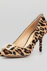 Charlotte Olympia Eleanor Crystalbuckle Calf Hair Pump Leopard - Lyst