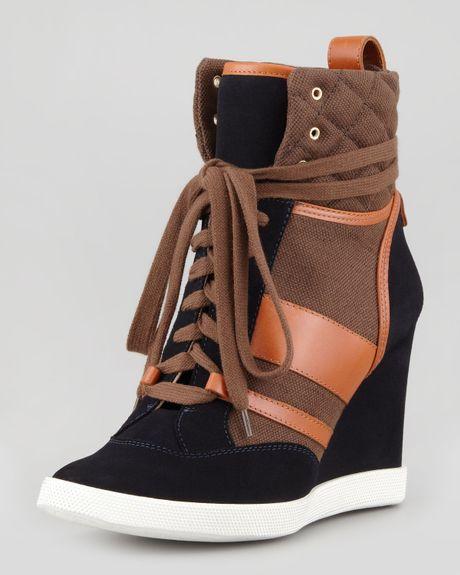 chlo mixed media wedge hightop sneaker blackbrown in brown black brown lyst. Black Bedroom Furniture Sets. Home Design Ideas