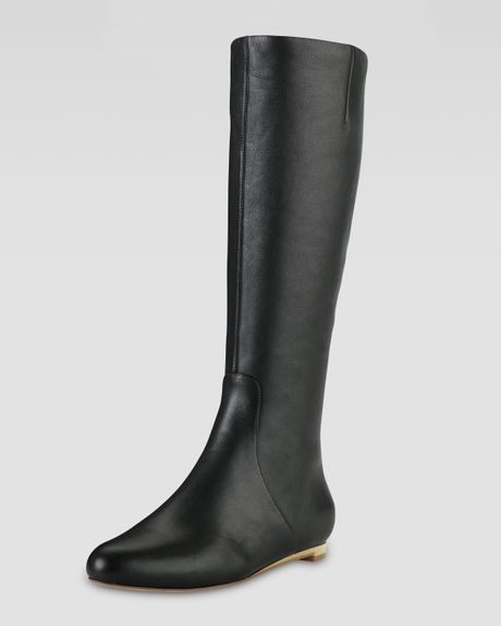 cole haan astoria air flat leather boot in black lyst