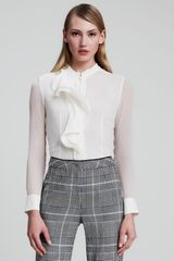 Escada Sheersleeve Ruffled Blouse White - Lyst