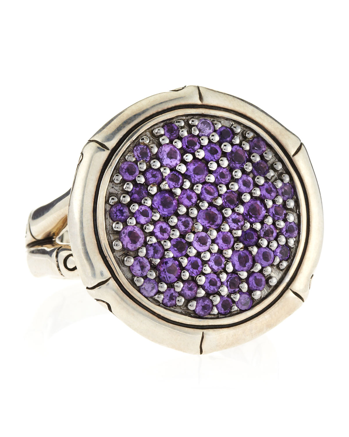 John Hardy Bamboo Silver Amethyst Round Lava Ring In