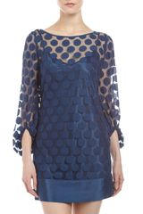 Laundry By Shelli Segal Polka-dot Lace Shift Dress Night Sky - Lyst