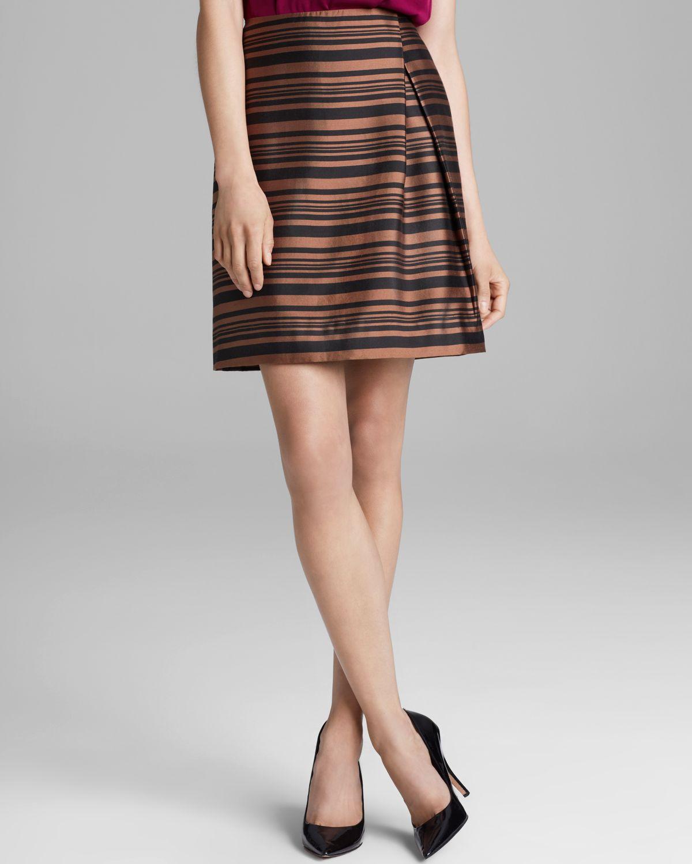 raoul tulip side pleated skirt in orange stripe lyst