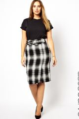 Asos Curve Pencil Skirt with High Waist in Check - Lyst